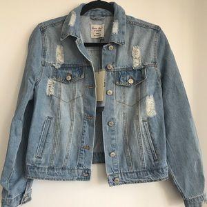 NWT - Distressed Denim Jacket - Small
